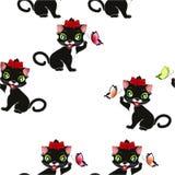 Nahtloses Muster mit Katzen und Basisrecheneinheiten Lizenzfreies Stockfoto