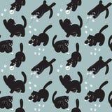 Nahtloses Muster mit Katzenspiel Stockbilder