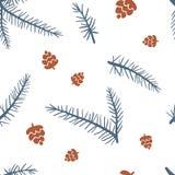 Nahtloses Muster mit Kegeln und Pelzbaum lizenzfreie abbildung