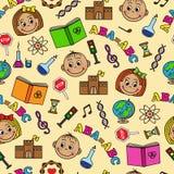 Nahtloses Muster mit Kindern und Schulsymbolen Stockbild