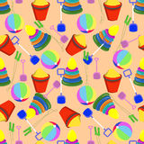 Nahtloses Muster mit Kinderspielwaren lizenzfreies stockbild