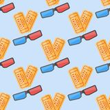 Nahtloses Muster mit Kinokarten und Gläsern 3d Stockfotos