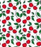 Nahtloses Muster mit Kirsche auf weißem Hintergrund Stockbild