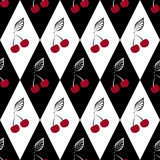 Nahtloses Muster mit Kirschen auf Schwarzweiss Stockfotos