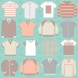 Nahtloses Muster mit Kleidung für Männer Lizenzfreie Stockfotos