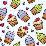 Nahtloses Muster mit kleinen Kuchen Lizenzfreie Stockfotos