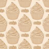 Nahtloses Muster mit kleinen Kuchen Stockbild