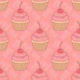 Nahtloses Muster mit kleinen Kuchen Stockfotos