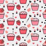Nahtloses Muster mit kleinen Kuchen, Hintergrund der kleinen Kuchen, Sahne-backg Stockbild