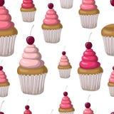 Nahtloses Muster mit kleinen Kuchen und Kirschen Hand gezeichnetes Design Stockbilder