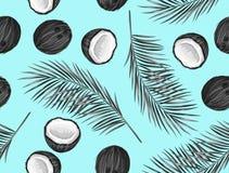 Nahtloses Muster mit Kokosnüssen Tropischer abstrakter Hintergrund im Retrostil Bedienungsfreundlich für Hintergrund, Gewebe, wic Stockfotografie