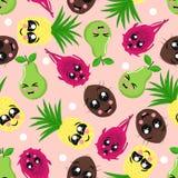 Nahtloses Muster mit Kokosnuss, Ananas, Birne, Drachefrucht - Vektorillustration, ENV lizenzfreie abbildung