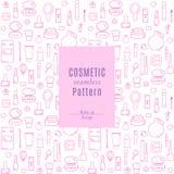 Nahtloses Muster mit kosmetischen Produkten und Kosmetik-Ikonen Stockfotografie