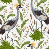 Nahtloses Muster mit Kranvogel und -wild wachsenden Pflanzen Orientalisches Motiv Lizenzfreies Stockfoto