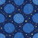 Nahtloses Muster mit kreativen Kreisen und Sternen Stockfotos