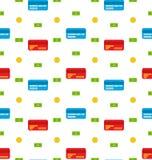 Nahtloses Muster mit Kreditkarten, Banknoten, Münzen, flache Finanzikonen Stockbild