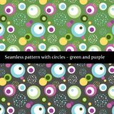 Nahtloses Muster mit Kreisen im Grün und im Purpur lizenzfreie abbildung