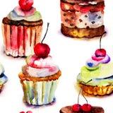 Nahtloses Muster mit Kuchen Stockfotos