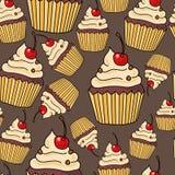 Nahtloses Muster mit Kuchen lizenzfreies stockbild