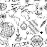 Nahtloses Muster mit Kugel, Kompass, Weltkarte und Windrose Lizenzfreies Stockfoto