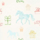 Nahtloses Muster mit laufenden Pferden Stockfotos