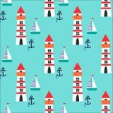 Nahtloses Muster mit Leuchtturm, Schiff und Anker Lizenzfreies Stockfoto