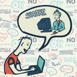 Nahtloses Muster mit Leuten auf dem Thema des Internets Stockbild