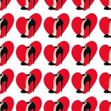 Nahtloses Muster mit Liebesherzen und -schuhen Stockfotografie
