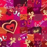 Nahtloses Muster mit Liebesikonen Lizenzfreies Stockbild