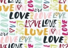 Nahtloses Muster mit Liebeswörtern, Herzen Stockfoto
