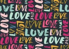 Nahtloses Muster mit Liebeswörtern, Herzen Lizenzfreies Stockbild