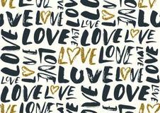 Nahtloses Muster mit Liebeswörtern, Herzen Lizenzfreie Stockfotografie