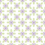 Nahtloses Muster mit lila Blume und Blatt Lizenzfreies Stockbild