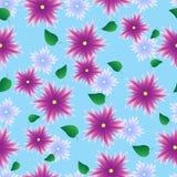 Nahtloses Muster mit lila Blumen Stockfotos