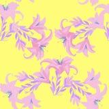 Nahtloses Muster mit Lilie auf einem gelben Hintergrund Vektor Illust Stockfotografie