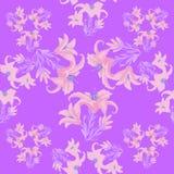 Nahtloses Muster mit Lilie auf einem purpurroten Hintergrund Vektor Illust Stockfotos
