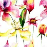 Nahtloses Muster mit Lilienblumen Stockfotografie