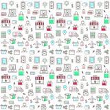 Nahtloses Muster mit on-line-Einkaufsikonen Stockfoto