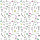 Nahtloses Muster mit linearer Kleidung und Zubehör Lizenzfreie Stockbilder