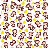 Nahtloses Muster mit lustigem braunem Affen, gelben Bananen, Jungen und Mädchen auf weißem Hintergrund Stockbild