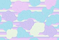 Nahtloses Muster mit lustigem Gekritzel bewölkt sich für Drucke, Designe und Malbücher Kindertagesstätten-Hintergrund für Kidn stock abbildung