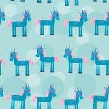 Nahtloses Muster mit lustigem nettem Einhorntier an Stockfotos