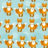 Nahtloses Muster mit lustigem nettem Fuchstier auf a Stockbilder