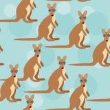 Nahtloses Muster mit lustigem nettem Kängurutier Stockfotografie