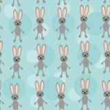 Nahtloses Muster mit lustigem nettem Kaninchentier an Stockfotografie