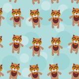 Nahtloses Muster mit lustigem nettem Katzentier auf einem blauen Hintergrund Lizenzfreies Stockbild