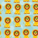 Nahtloses Muster mit lustigem nettem Löwetier auf a Stockfoto