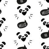 Nahtloses Muster mit lustigem Panda Karikaturbär sagt Guten Tag Vektor Stockbilder