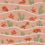 Nahtloses Muster mit lustigen afrikanischen Tieren vektor abbildung