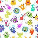 Nahtloses Muster mit lustigen Bakterien stock abbildung